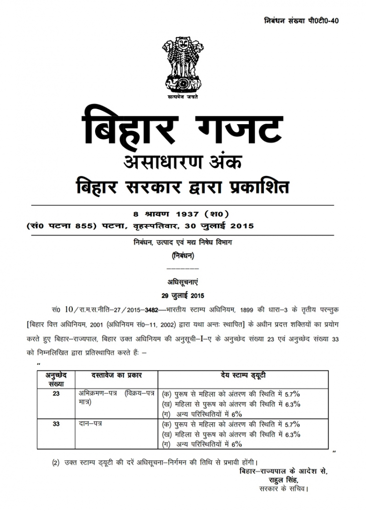 bihar govt revise rate of stamp duty  u0026 registration fee